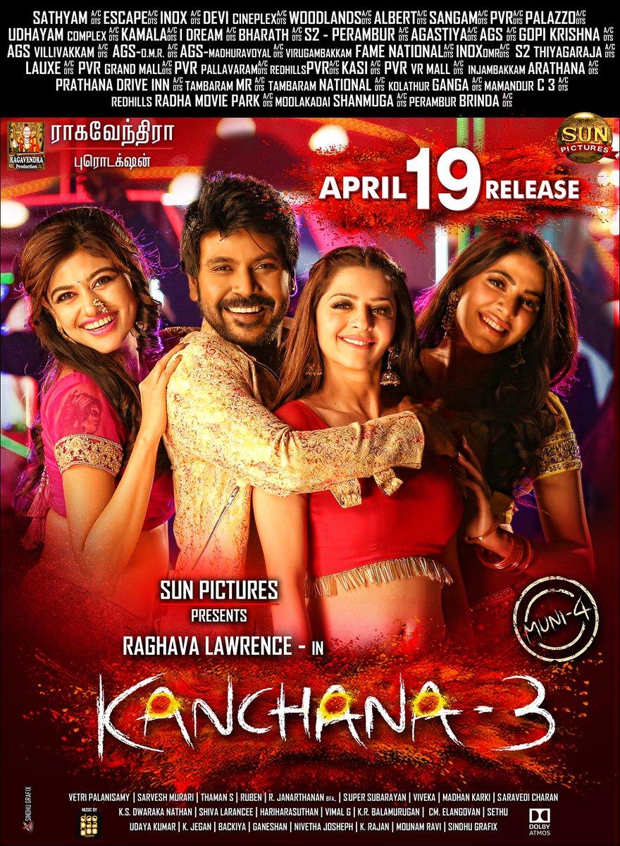 Kanchana3 coming out 19th-April -lawrence-oviya-vedhika-nikkitamboli