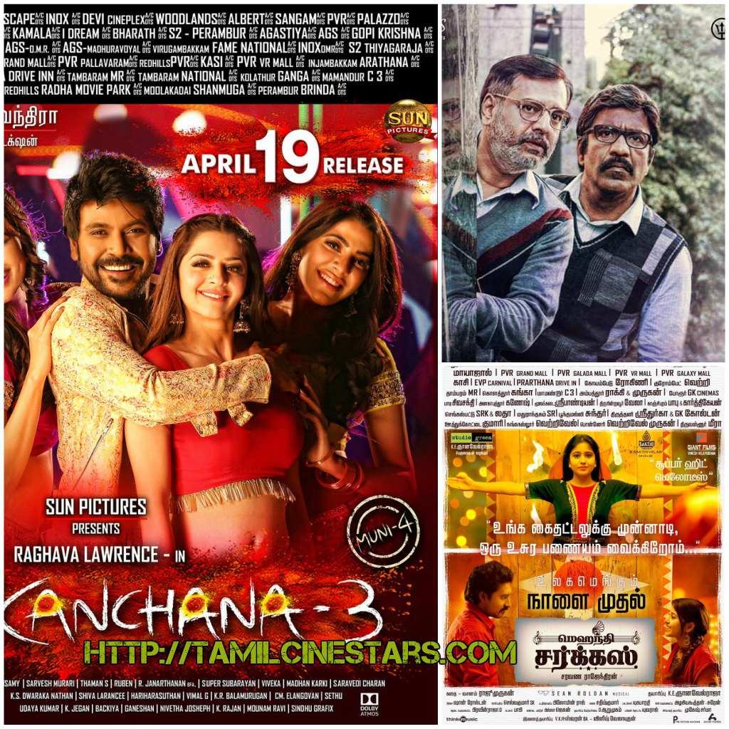 Movies-Releasing-on-April-19th-Kanchana-3-Vellai-pookal-MehandiCircus-tamilcinestars.com_