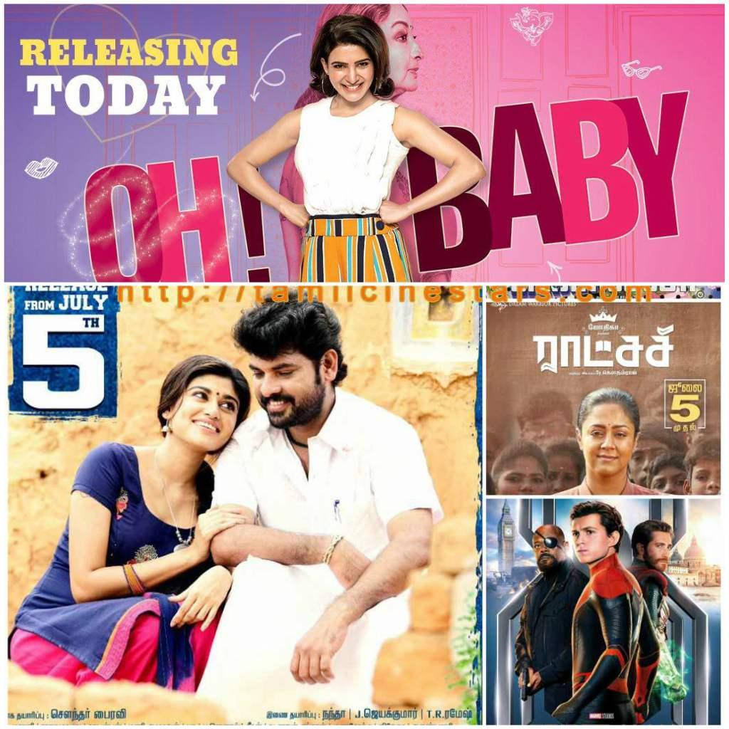 Movies Scheduled to release for July 5 – Kalavani2-Raatchasi-Ohbaby-SpiderManFarFromHome