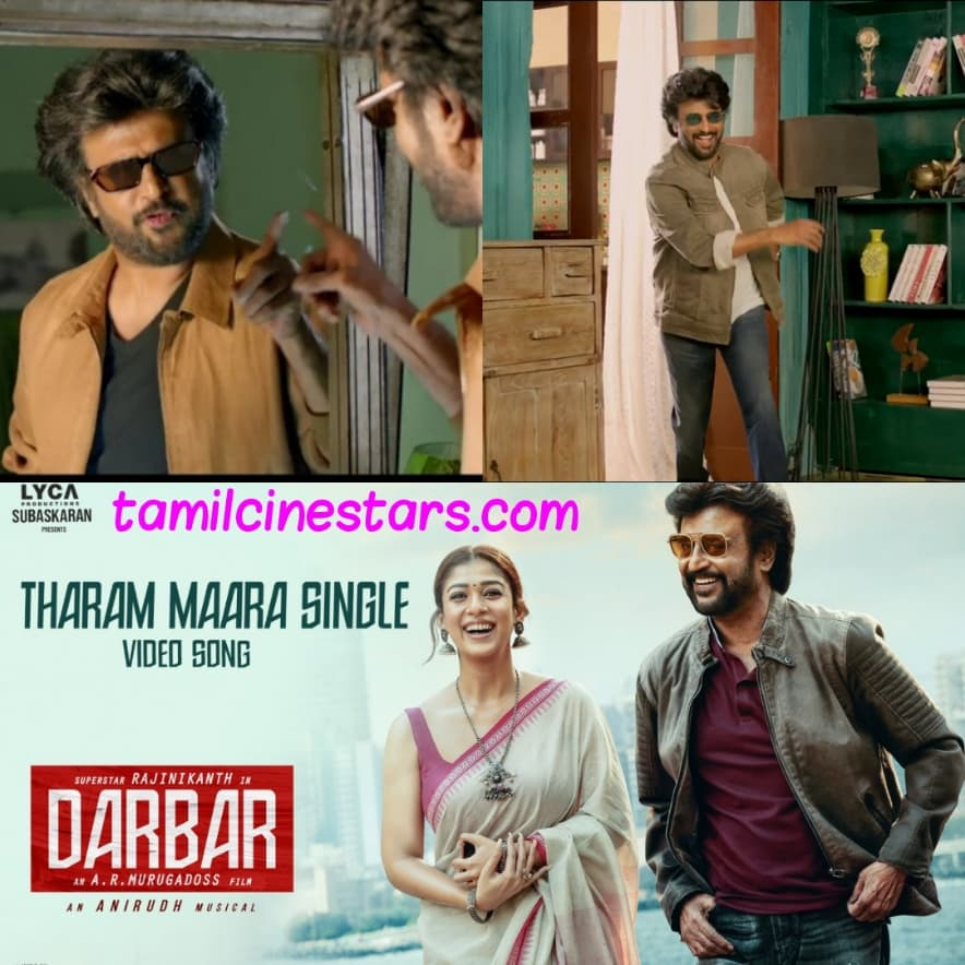 Tharam Maara Single video song Snaps from Darbar featuring Rajinikanth Nayanthara