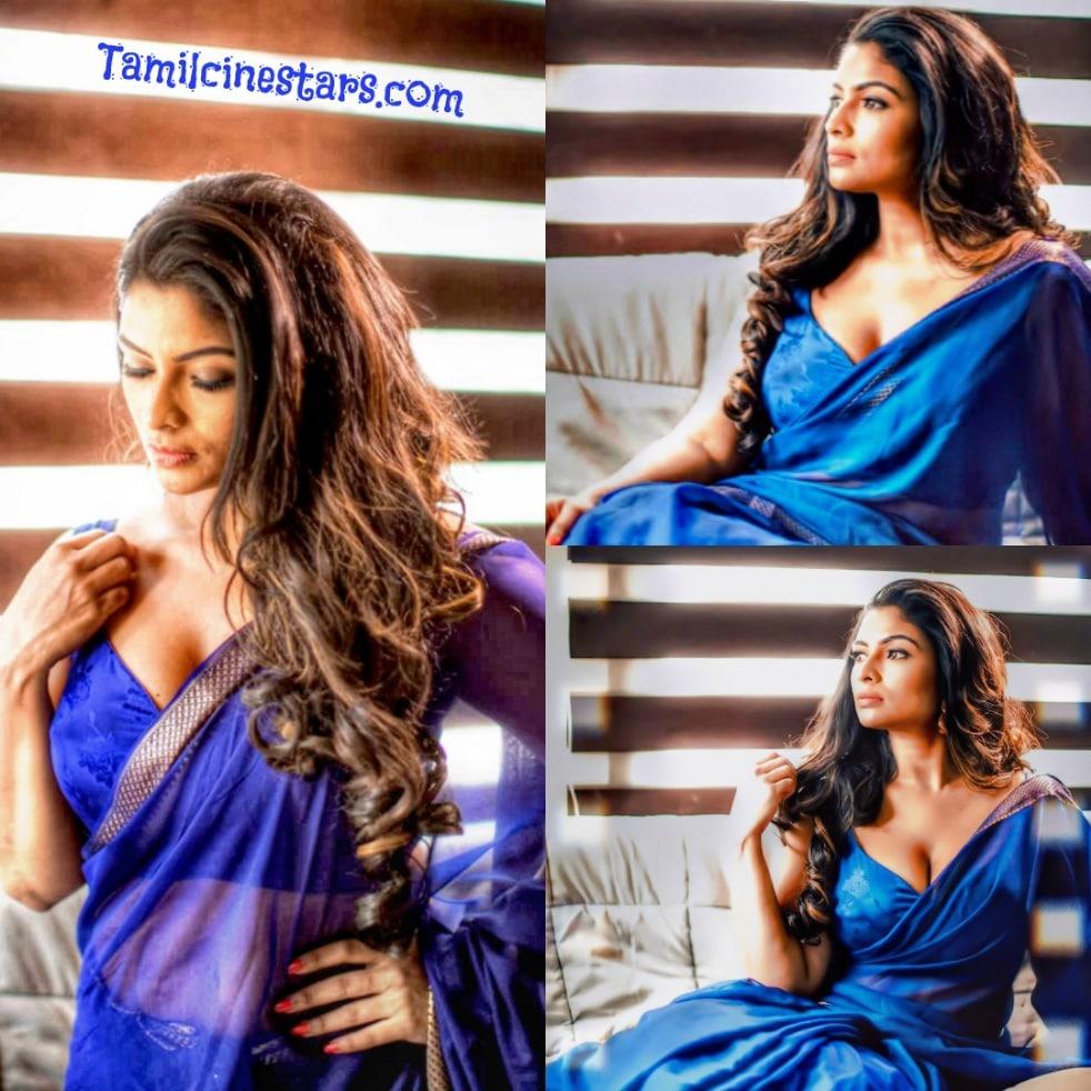 Latest Social Media Sensational beauty VJ Maheswari Chanakyan HD Saree Seductive stills